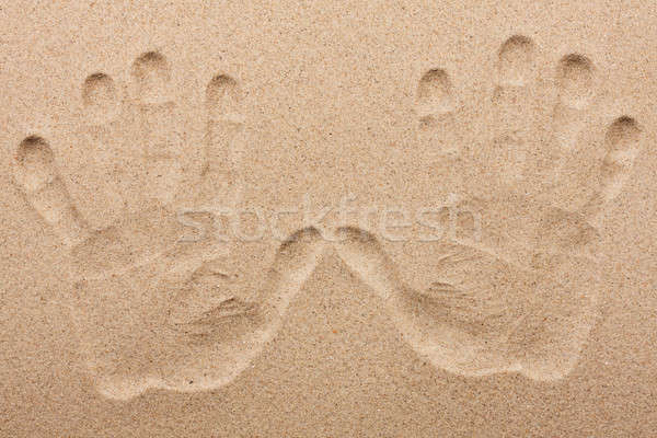 Imprint of two human hands in the sand Stock photo © alekleks
