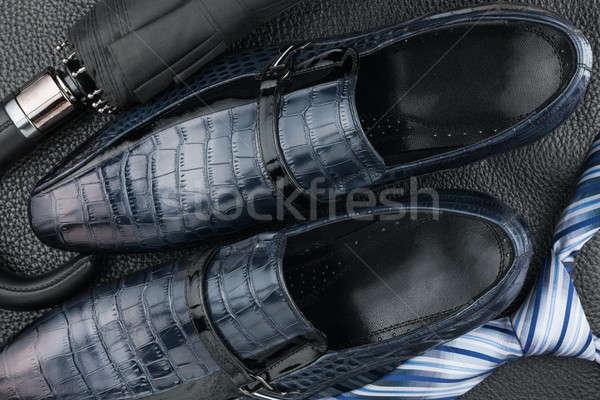 Klasszikus kék cipők nyakkendő esernyő fekete Stock fotó © alekleks