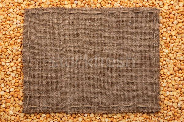 Quadro pano de saco linha mentiras ervilhas sementes Foto stock © alekleks