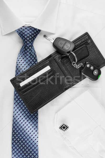 Pénztárca kulcsok póló nyakkendő konzerv használt Stock fotó © alekleks