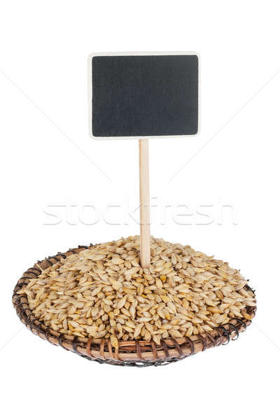 Heap of barley  in a plate, with a pointer for your text Stock photo © alekleks