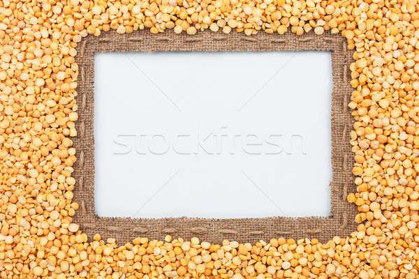 Cadre toile de jute ligne grain mensonges blanche Photo stock © alekleks