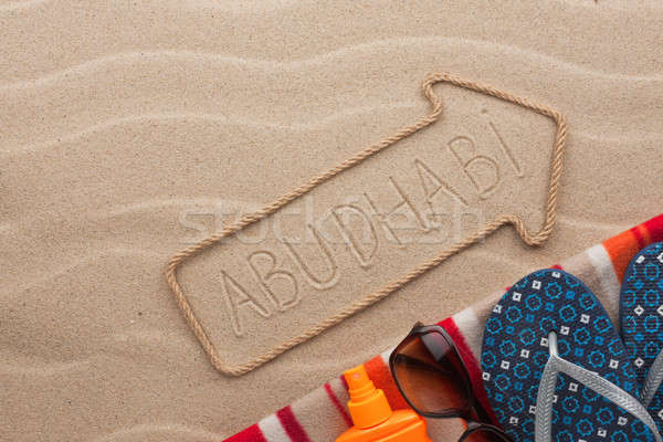 Abu Dabi plaj kum parti deniz Stok fotoğraf © alekleks