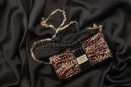 Szexi fehérnemű leopárd táska fekete szatén Stock fotó © alekleks