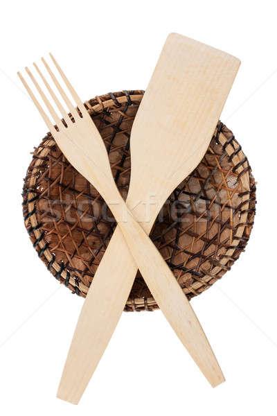вилка лопатой пластина кокса листьев изолированный Сток-фото © alekleks