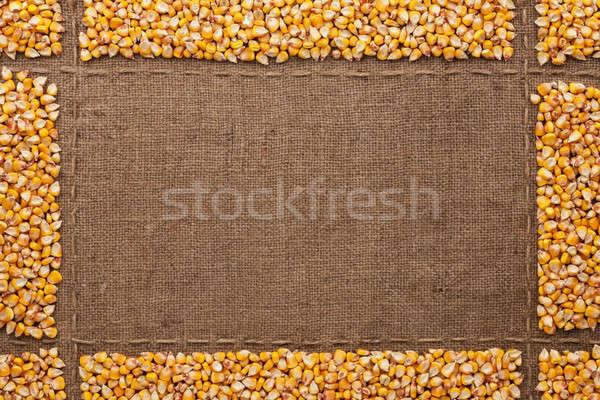 Beautiful frame with corn on sackcloth Stock photo © alekleks
