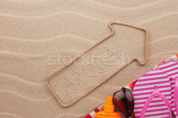 пляж песок морем знак путешествия Сток-фото © alekleks