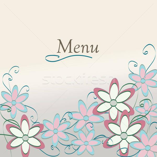 ストックフォト: フローラル · レストラン · メニュー · デザイン · 花柄 · カバー
