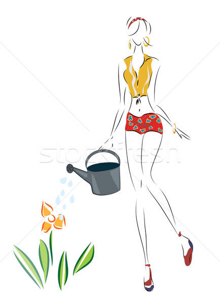 Illustration of a Woman pour on a flower  Stock photo © Aleksa_D
