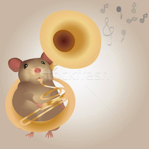 Illustration of a Mouse Playing on Tuba Stock photo © Aleksa_D