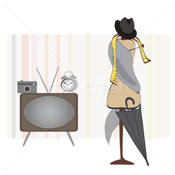 Retro Room. Alarm Clock, TV, Photo Camera, Hat and Umbrella and Dummy Stock photo © Aleksa_D