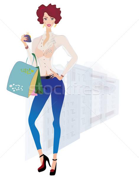 Meisje winkelen mode portemonnee zakken Stockfoto © Aleksa_D