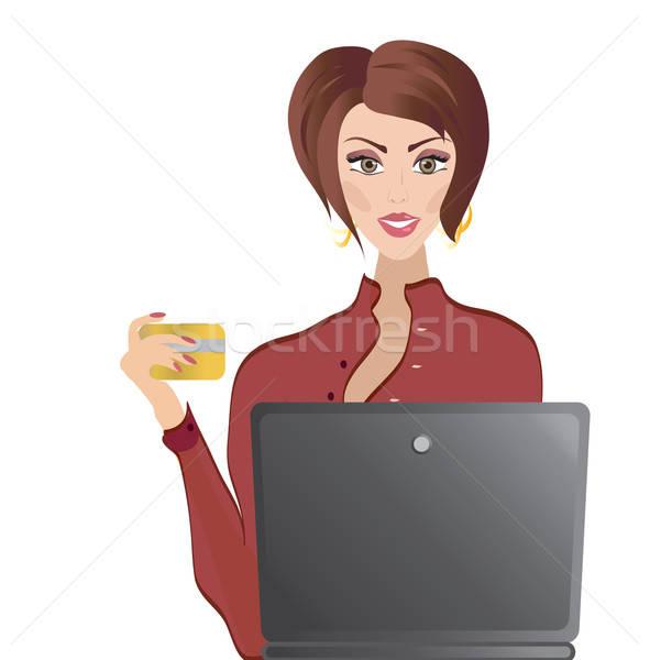 Vrouw creditcard laptop online winkelen internet bancaire Stockfoto © Aleksa_D