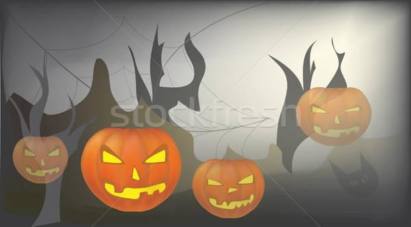 Halloween dag viering vector kaart pompoen Stockfoto © Aleksa_D