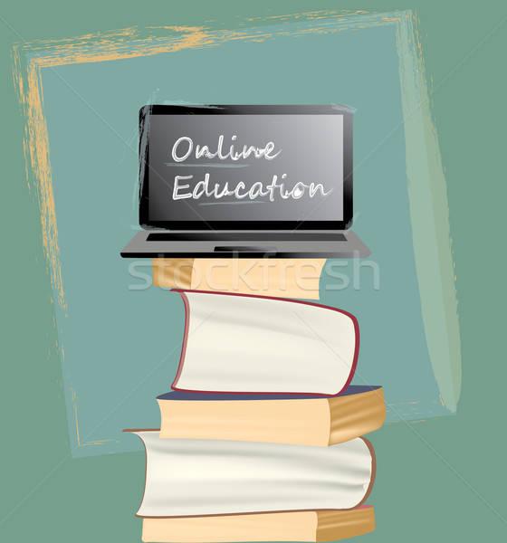 Online onderwijs boeken laptop Stockfoto © Aleksa_D