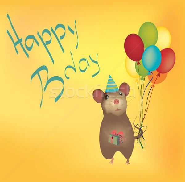 Gelukkige verjaardag kaart ballonnen muis geschenk Stockfoto © Aleksa_D