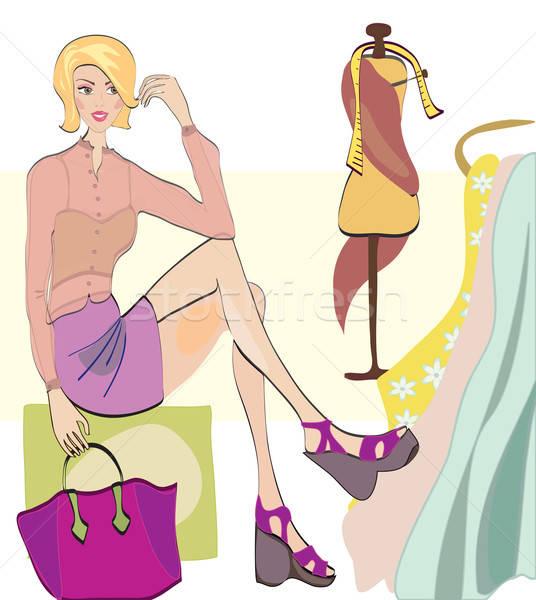 Meisje winkelen mode winkel kleding Stockfoto © Aleksa_D