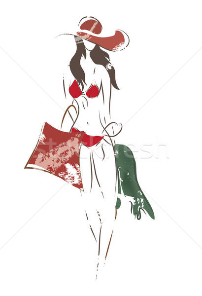 Illustratie vrouw zwempak hoed zak handdoek Stockfoto © Aleksa_D