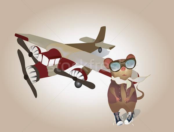 Cartoon piloot muis uniform vliegtuig vector Stockfoto © Aleksa_D