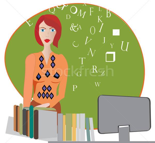 öğretmen kadın kitapçı bilgisayar kitaplar Stok fotoğraf © Aleksa_D