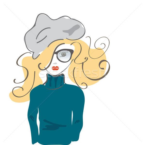 Vector portret tienermeisje hoed bril blond Stockfoto © Aleksa_D