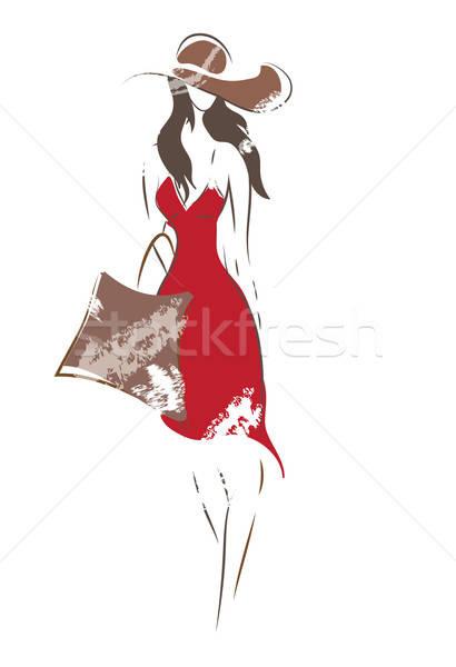 Mode vrouw schets vector meisje zak Stockfoto © Aleksa_D