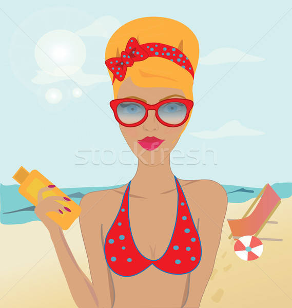 Portrait of a Blond Girl with Fashionable Sunglasses in a Swimsuit Holding Sun Oil on the Beach  Stock photo © Aleksa_D