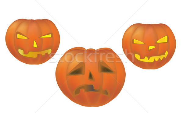 Drie halloween vakantie pompoenen 3D Stockfoto © Aleksa_D