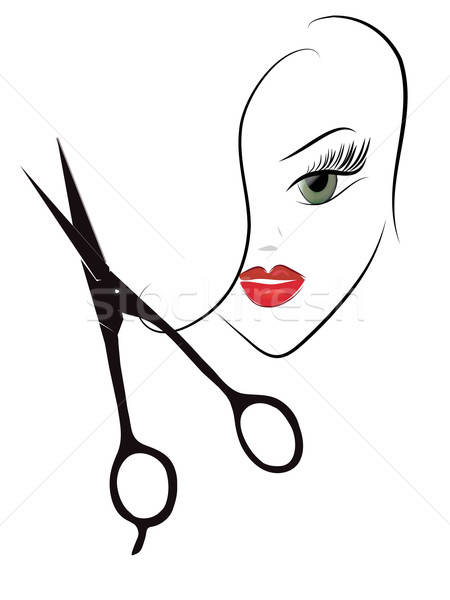 Schoonheid vrouw hoofd schaar kapper beroep Stockfoto © Aleksa_D