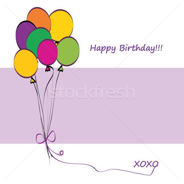Gelukkige verjaardag kaart ballonnen exemplaar ruimte papier abstract Stockfoto © Aleksa_D