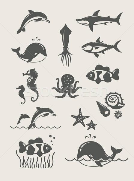 Ocean mare semplice icone eps8 Foto d'archivio © Aleksangel