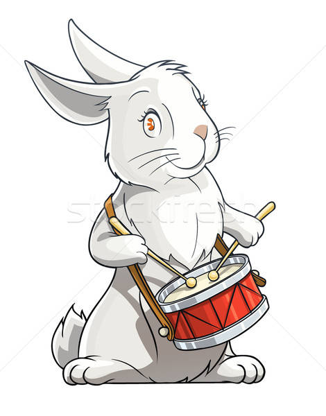 hare playing drum Stock photo © Aleksangel