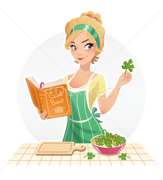 Beautiful girl cook food with cookbook Stock photo © Aleksangel