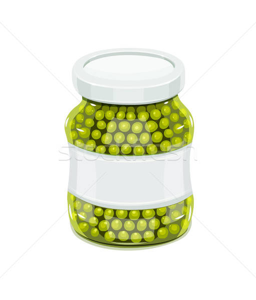 Glass jar with greeen peas Stock photo © Aleksangel