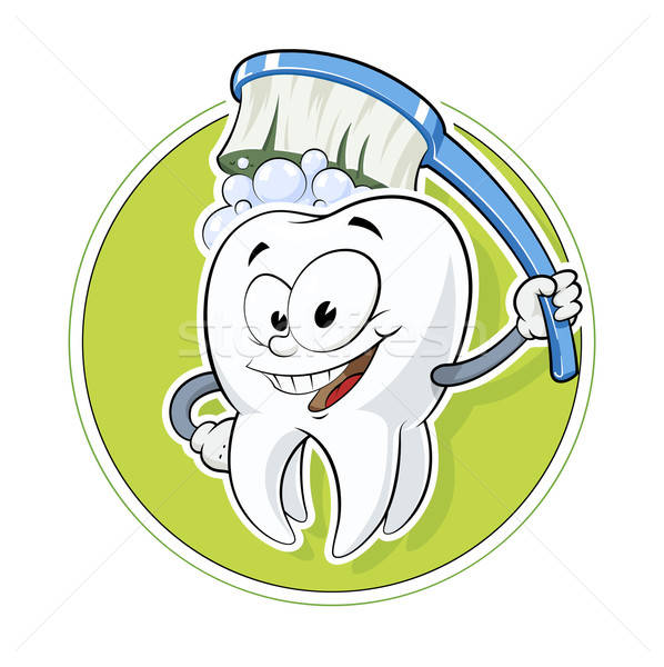 Healthy tooth with dental brush Stock photo © Aleksangel