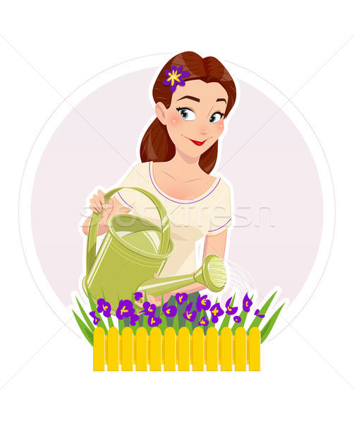 Gardening. Beautiful girl watering flower. Stock photo © Aleksangel