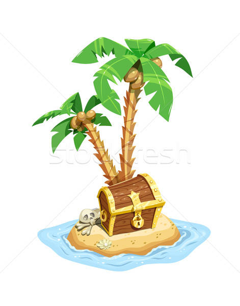 Pirates treasure island with chest and palms. Stock photo © Aleksangel