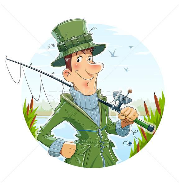 Fisherman with rod. Fishing Stock photo © Aleksangel