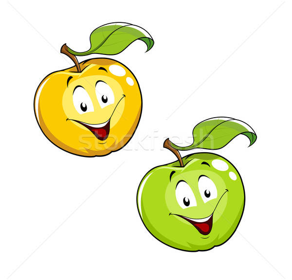Cartoon Ripe fresh apple with leaf Stock photo © Aleksangel