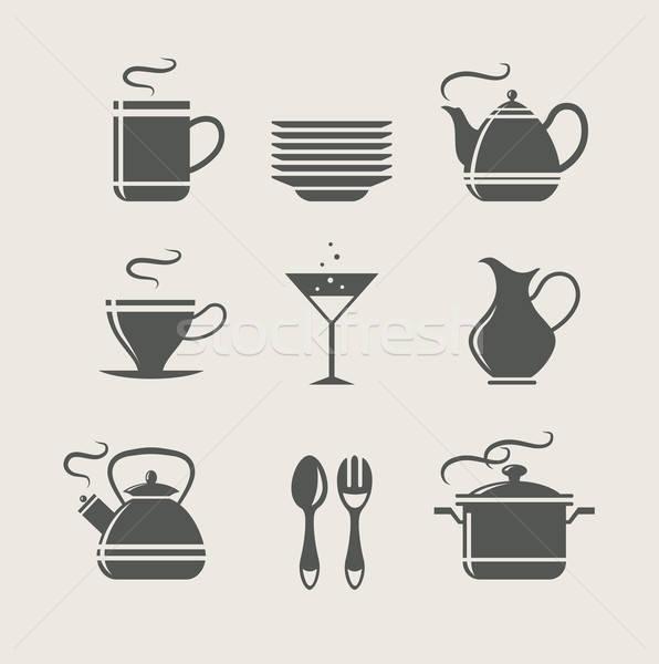 Keuken tafelgerei ingesteld iconen glas achtergrond Stockfoto © Aleksangel