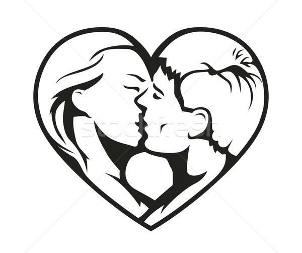 Geen beschrijving meisje liefde man paar Stockfoto © Aleksangel