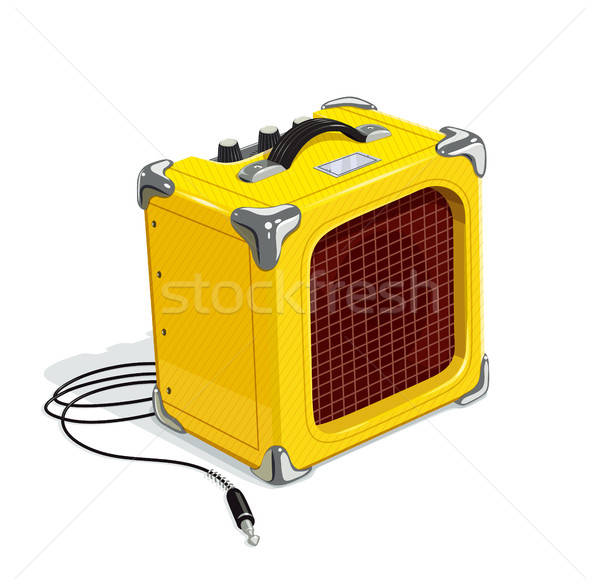 Yellow guitar combo amplifier with cord Stock photo © Aleksangel
