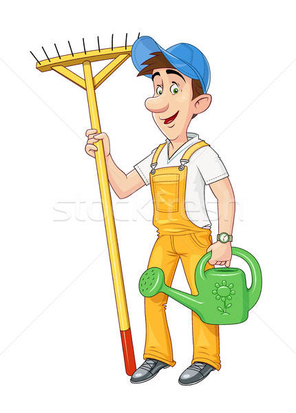 Gardener with rake and watering can. Working occupation. Stock photo © Aleksangel