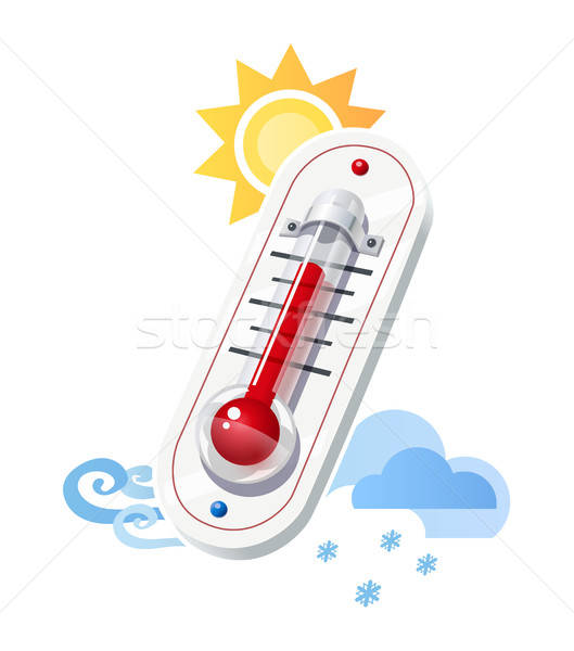 Thermometer show temperature and weather icons Stock photo © Aleksangel