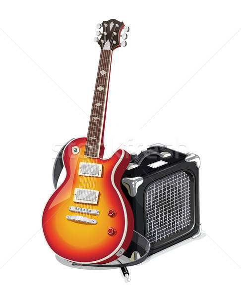 Classic electric guitar with amplifier. Stock photo © Aleksangel