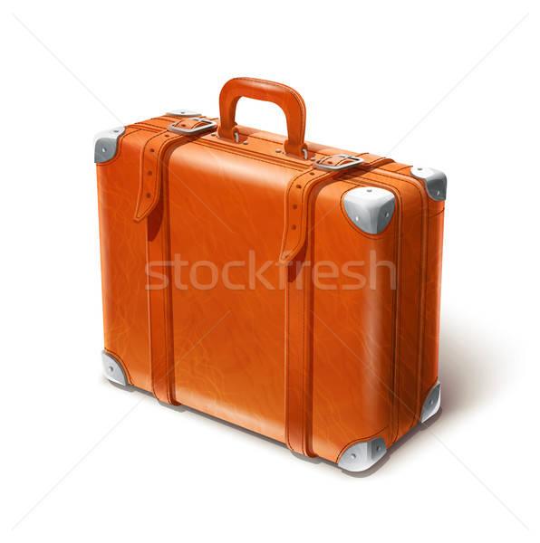 Leder groot koffer geïsoleerd witte eps10 Stockfoto © Aleksangel