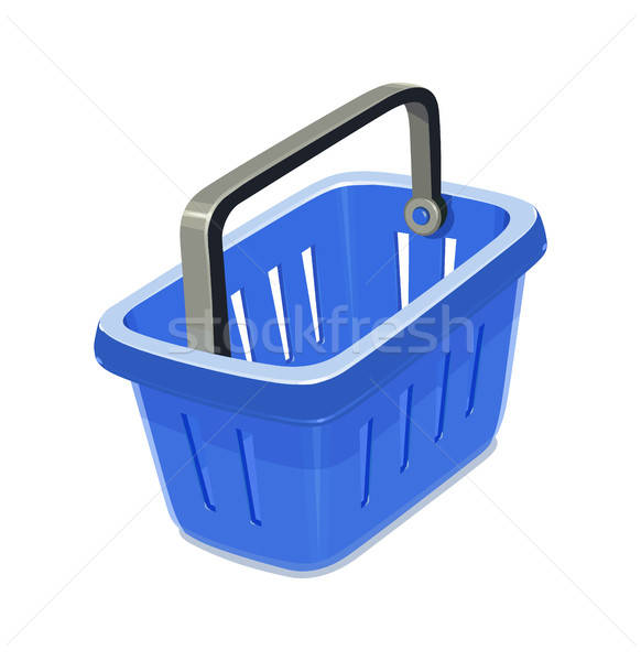 Blue plastic basket for shopping. Stock photo © Aleksangel
