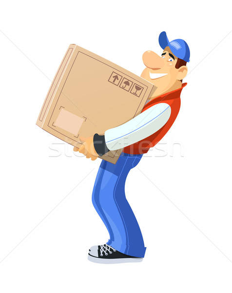 Loader with box. Delivery service. Stock photo © Aleksangel
