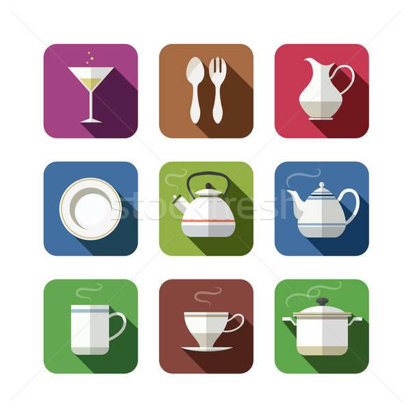 Keuken tafelgerei ingesteld iconen geïsoleerd witte Stockfoto © Aleksangel