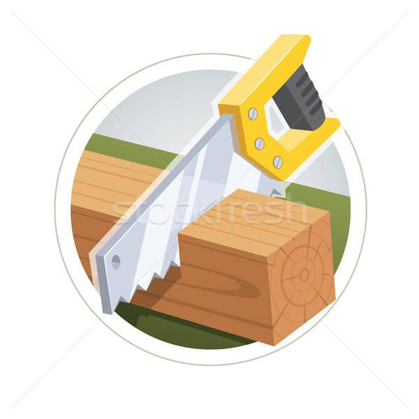 Hacksaw cut  wooden board Stock photo © Aleksangel
